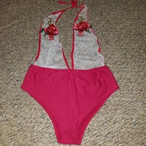 NEW 🌹 Red Rose Embroidered Mesh Swimsuit 🌹 M L
